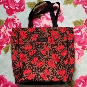 BETSEYVILLE💋 Leopard Print Tote Purse W/ Red Bows
